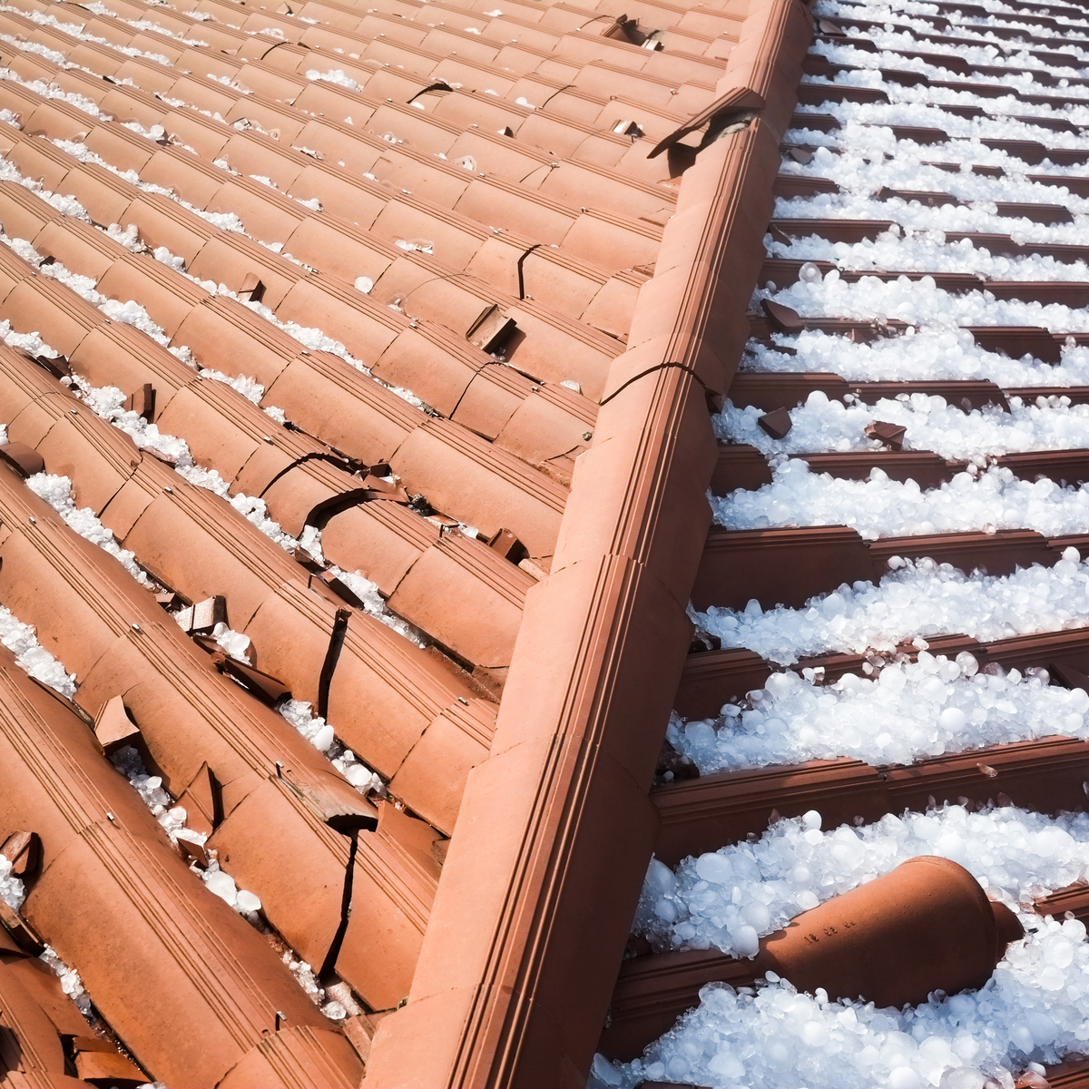 Atop of roof damage, hail can bring leak damage into your home by melting into dents and cracks on your rooftop.